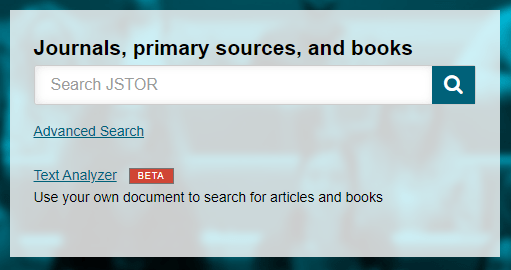 Screenshot of JSTOR, a multi-disciplinary database