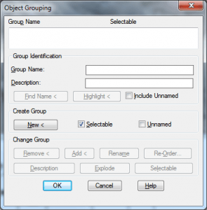 Classic AutoCAD Object Grouping dialog box