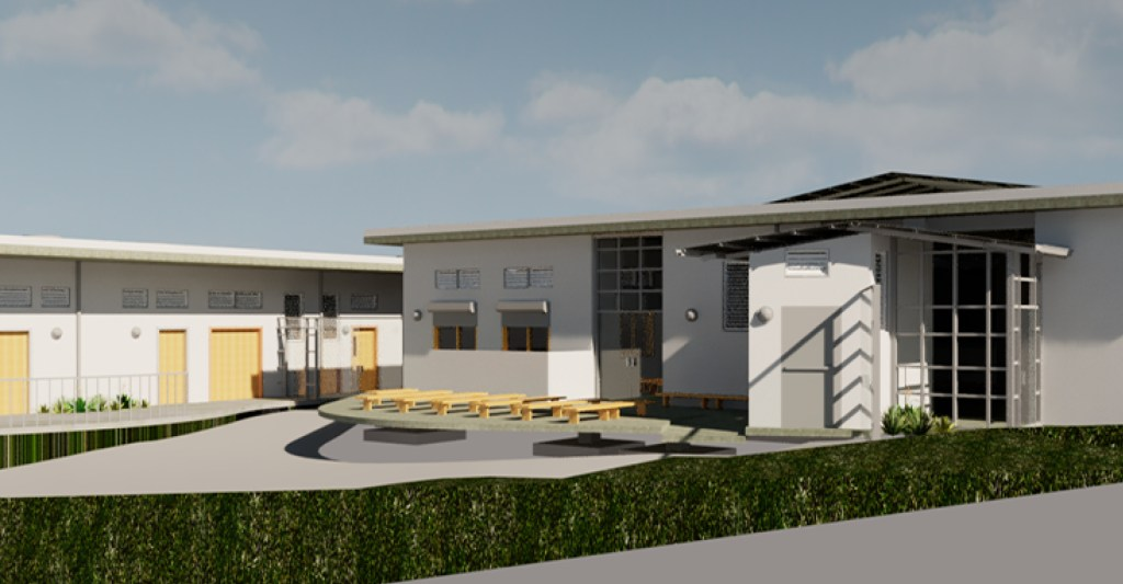 A close up rendering of buildings in the Saint Rock Hospital in Haiti