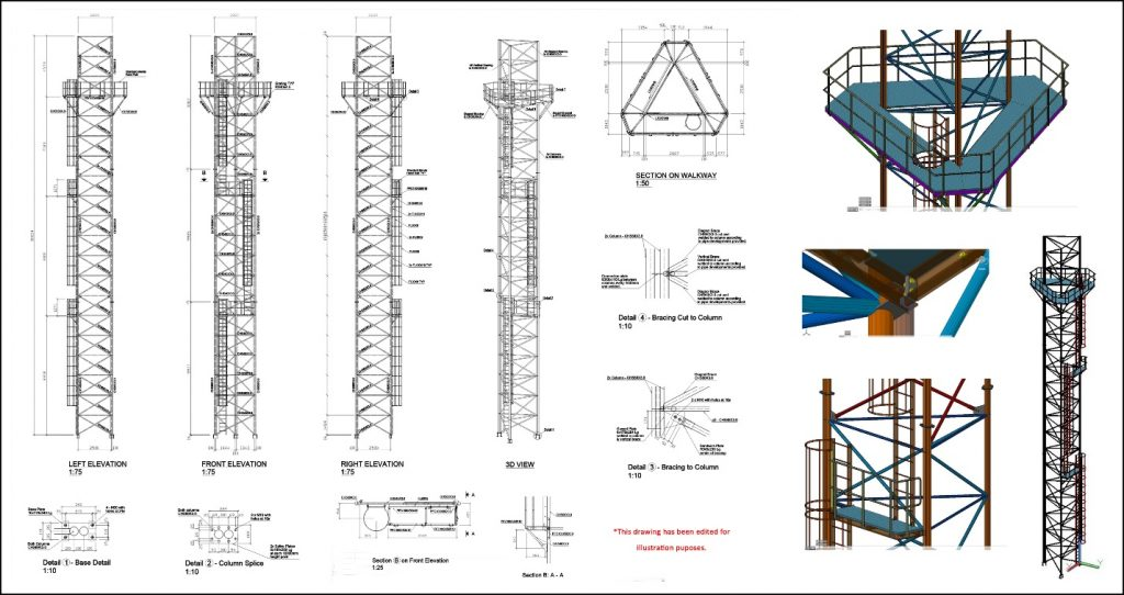 Steel structure support tower