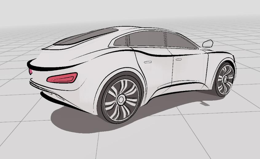 Car sketch in VR