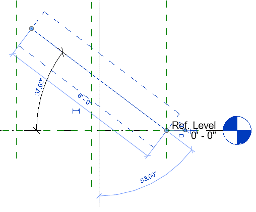 Revit familes reference lines used to constrain angles
