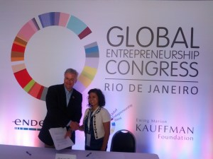 Shaking hands with President of Global Entrepreneurship Week, Jonathan Ortmans