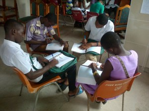 Ghanaian students hard at work in Sekondi