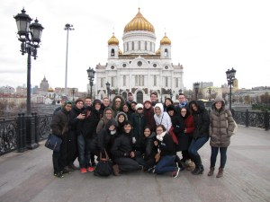 BRIC 2013 arrives in Moscow! The students tour the city and pause for a photo in front of Christ The Savior Cathedral.
