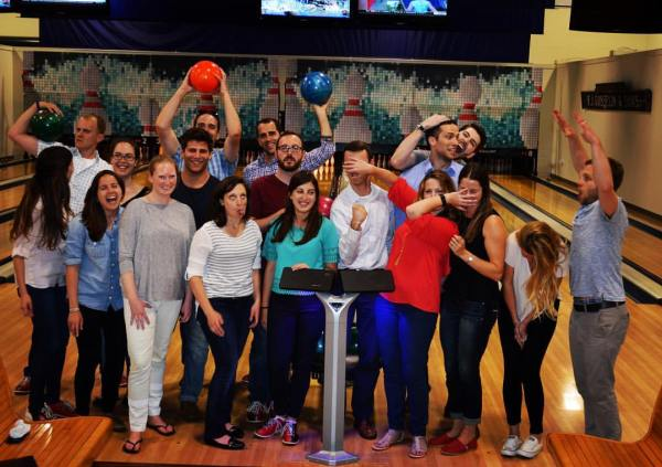athenahealth's MBA interns out for candlepin bowling in Somerville, MA