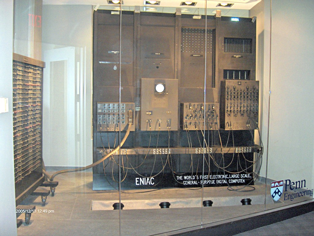 ENIAC is the first electronic computer. ENIAC stands for Electronic Numerical Integrator And Computer. ENIAC started in 1943.