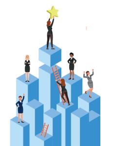 Women Climbing ladders