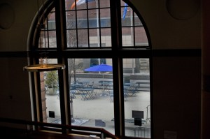 A view of the interim plaza from Baruch's library building. Photo by Emma Kazaryan