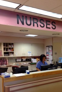 Jennifer Cabero keeps a file up to date at the nurse's station at Bellevue Hospital. Photo by Roxanne Torres