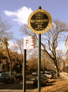 Some areas of Forest Hills are private communities and only residents of them may park there. Photo by Thomas Seubert.
