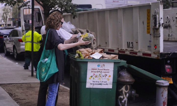 Some food scraps are delivered in plastic bags; a separate trash bag for them is nearby.