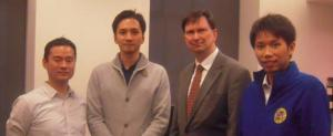 Arthur Downing, Chief Librarian with visitors from Kwansei Gakuin University
