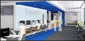 Rendering of Baruch College wallpaper on lab wall