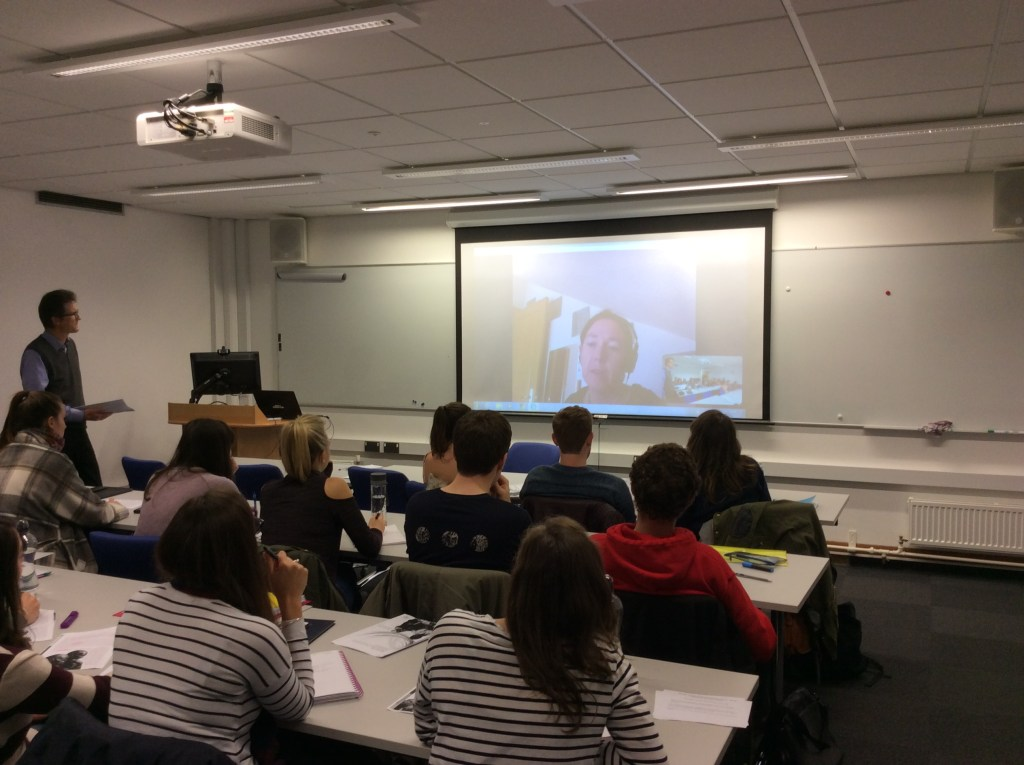 Student participation in Skype lecture