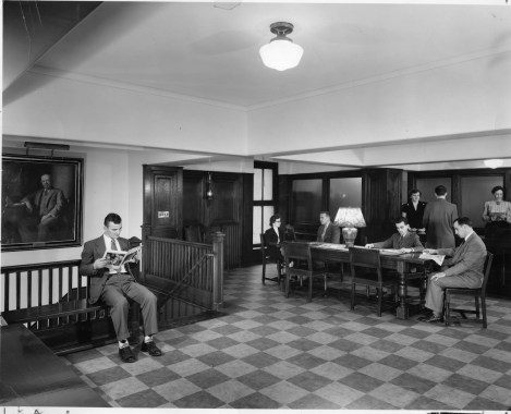 """Captions read """"Marion Todd [sp?] Mary Beverly Carl Mrs. Marion Siss [sp?] in early 1950s 921 Boylston Street"""" """"Partial view of Administrative Office Lobby"""""""