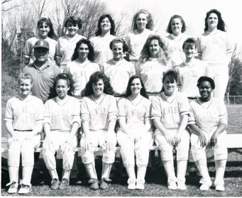 Softball, 1992. Softball was one of the first women's sports teams to organize at Bentley, and play began in the early 1970s.