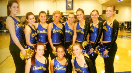 Bentley Dance Team, 2012. The Dance Team performs at sports games and other campus events, and their Competition Dance Team represents Bentley in national competitions.