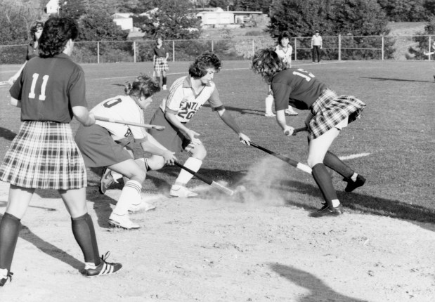 Field Hockey, ca. 1980s. The team won the NCAA D2 National Championship in 2001, and has won several NE-10 playoff championships.