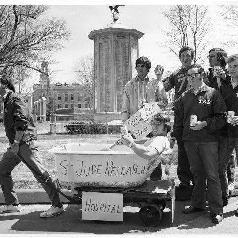 "At another 1970s fundraiser, members of Tau Kappa Epsilon held a ""Tub Pull"" through Waltham to raise money for St. Jude's."