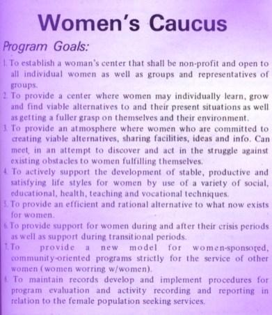Announcement of Women's Caucus in student newspaper