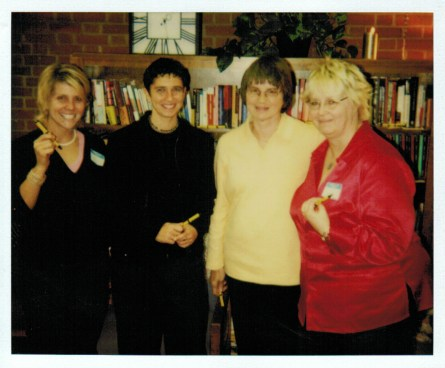 (L-R) Women's Center co-founders Suzanne Hinton and Jo Trigilio, both of the Philosophy department, with VP of Student Affairs Kathleen Yorkis and Susan Clark-Cook of the Counseling Center who served as the Center's first staff co-adviser.