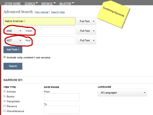 image: JSTOR advanced search boxes