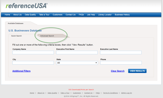 ReferenceUSA Advanced Search