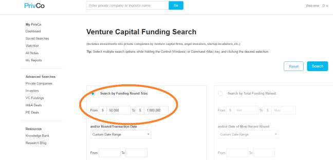 PrivCo search screen - funding parameters