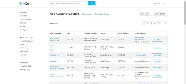 PrivCo search results screen