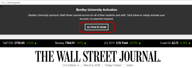 Wall Street Journal activation screen