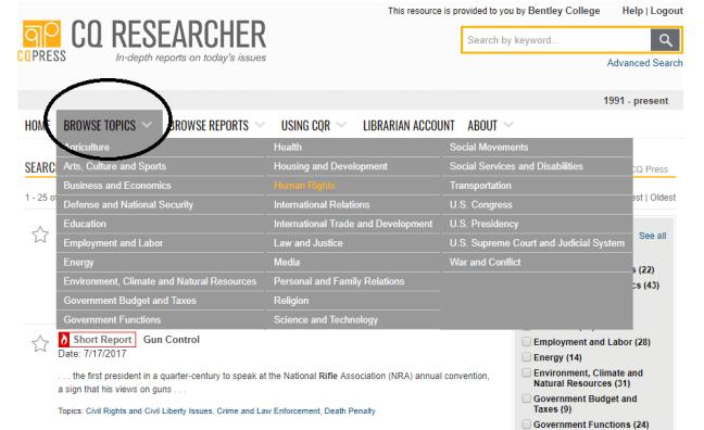 Browse topics menu