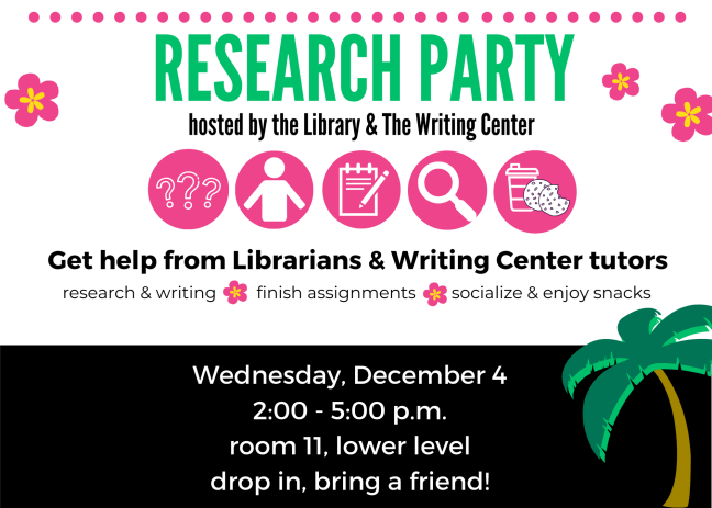 Research Party hosted by the Library & The Writing Center flyer. Wednesday, December 4, 2:00-5:00 p.m. Room 11, Lower Level.