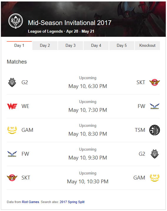 2017 League Mid Season Invitational