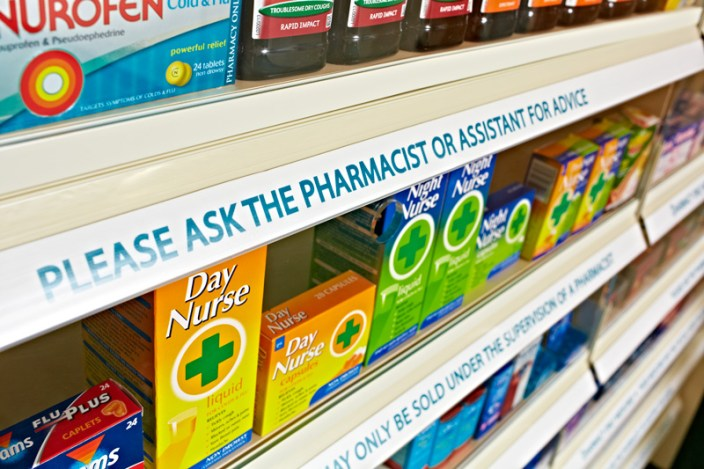 medicines on a shelf.
