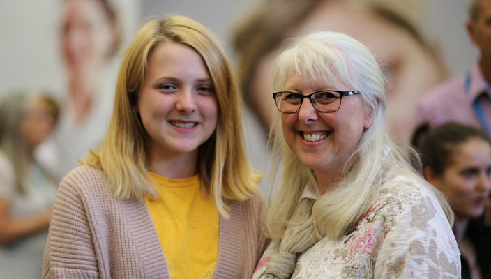 A female student and her mum at an Open Day
