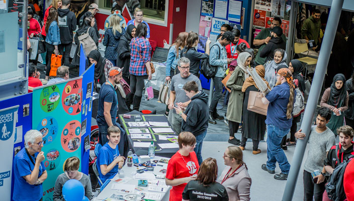 New students and society members at Freshers' Fair 2018