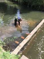Male student carrying out rivers research