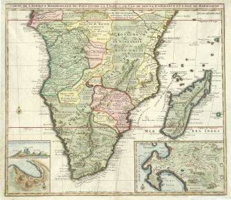 A beautiful and incredibly detailed depiction of Southern Africa from 1730, printed in Amsterdam by Elizabeth Visscher. Source: Stanford University Library.