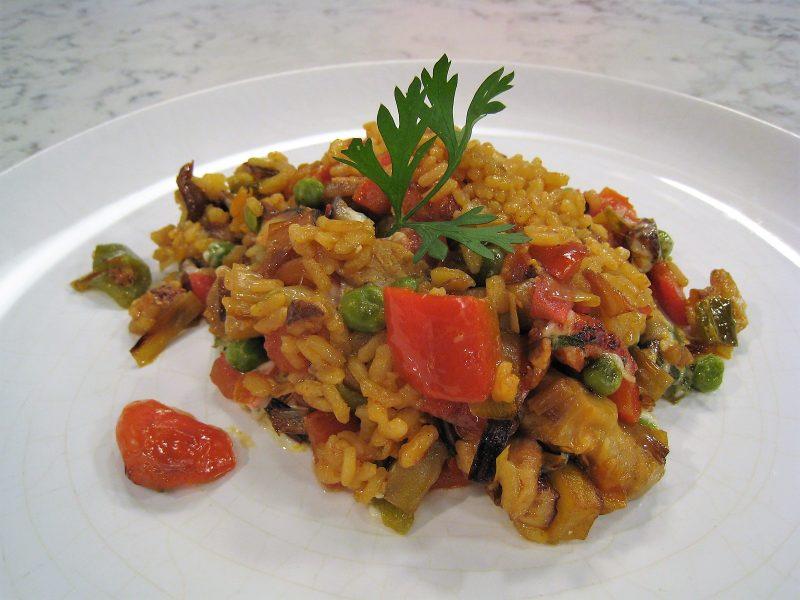Arroz al horno con setas y verduras
