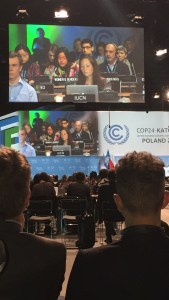 Women and Gender representative speaking on behalf of her constituency during plenary, COP 24, Katowice, Poland.