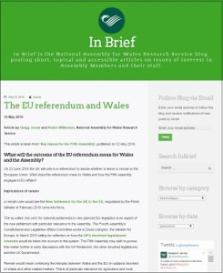 The EU referendum and Wales / Gregg Jones and Robin Wilkinson