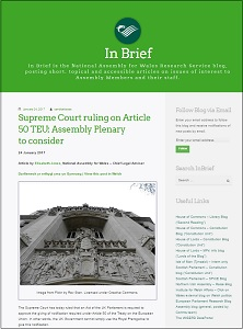 Supreme Court ruling on Article 50 TEU; Assembly Plenary to consider / National Assembly for Wales