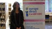 Artemis Koutsopoulou standing next to the Cardiff EDC banner.