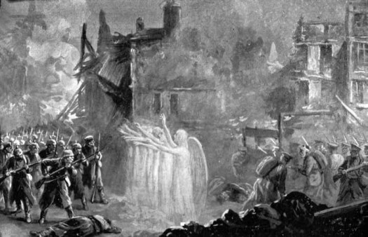 Shining Angels throw a protective curtain around men from the Lincolnshire Regiment at Mons'; Alfred Pearse, published in The Chariots of God by a churchwoman in 1915. (London: AH Stockwell, 1916).