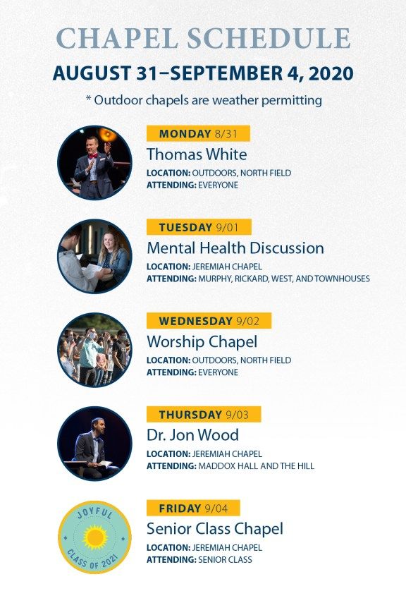 Aug31-Sep4 Chapel Schedule