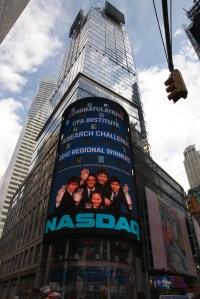 7-story NASDAQ MarketSite sign on Times Square congratulates the CFA Institute Research Challenge winning team from Thammasat University.