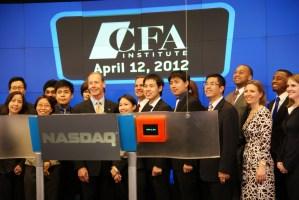 The team from Thammasat University prepares to close the NASDAQ on 12 April 2012.