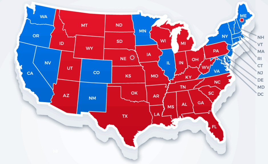 Political Parties By State Map.Red States Blue States Two Economies One Nation Cfa Institute