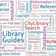 Library themed word cloud.